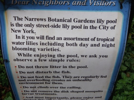 Lily Pool Sign at Narrows Botanic Garden