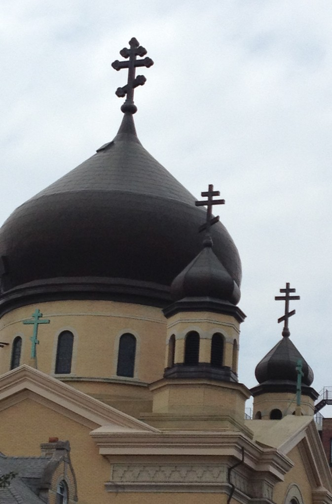 The Green Dome Garden is named for the domes of the Russian Orthodox Church right across the street