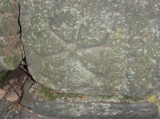 Though worn from age the flower in this stone at Bertram's Gardens is still visible. Philadelphia PA