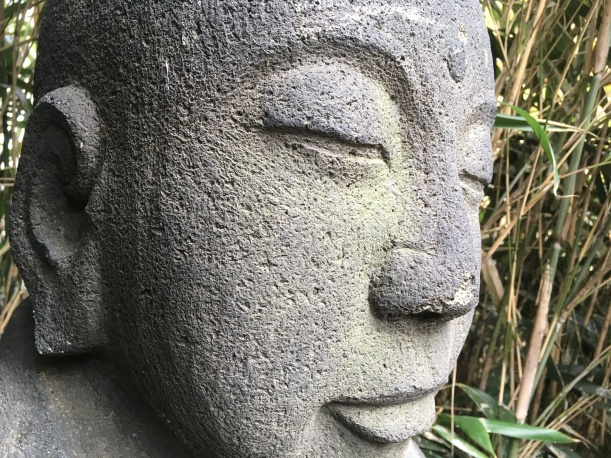 A Buddha sculpture in the garden